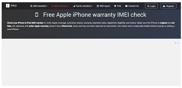 Website check IMEI imeipro.info
