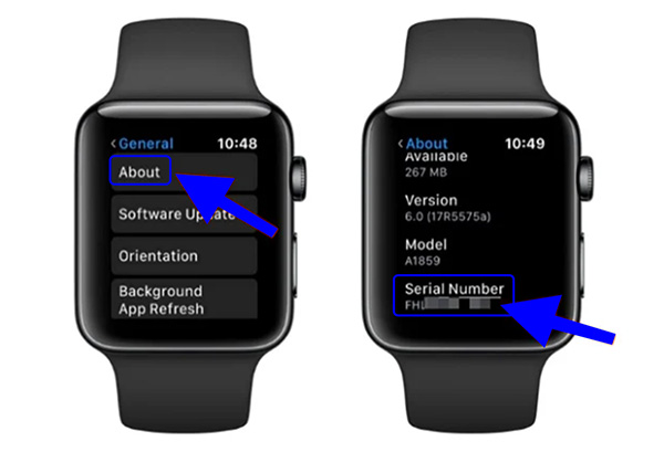 Cách kiểm tra Serial Apple Watch