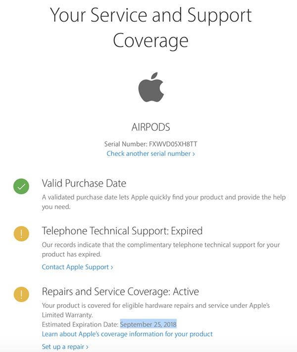 Cách đọc thông báo kiểm tra Serial Airpods, Macbook, Apple Watch