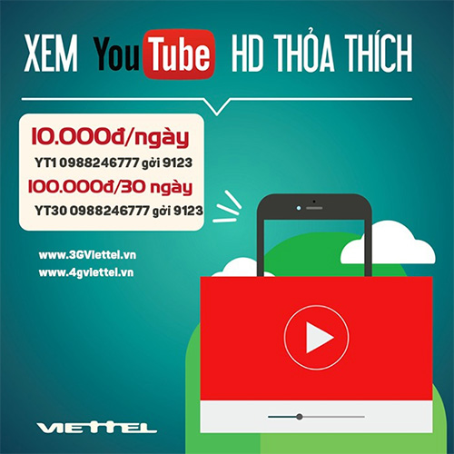 Gói Data Viettel xem Youtube thoải mái
