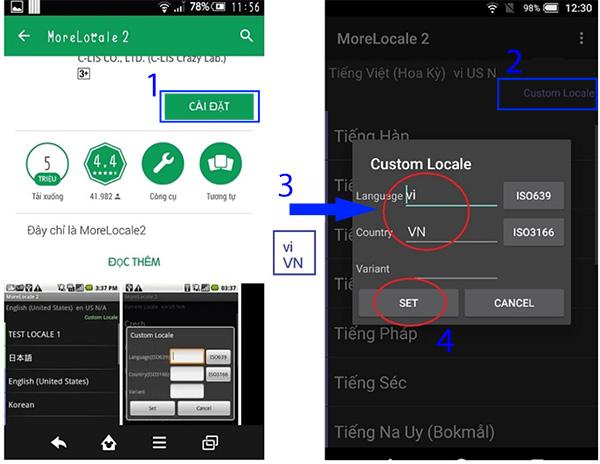 Cài tiếng Việt cho Android bằng phần mềm MoreLocale 2